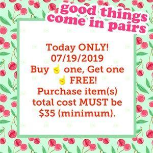 BOGO. Total purchase MUST cost $35 (minimum).
